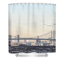 The Ben Franklin Bridge From Penn Treaty Park Shower Curtain by Bill Cannon
