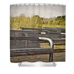 The Benches Shower Curtain by Tom Gari Gallery-Three-Photography