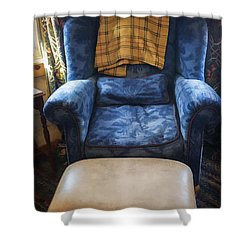 The Big Blue Chair - Oil Shower Curtain by Edward Fielding