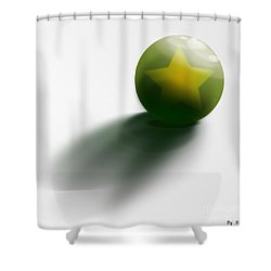 Shower Curtain featuring the digital art Green Ball Decorated With Star White Background by R Muirhead Art
