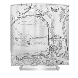 Shower Curtain featuring the painting The Big Oak  by Felicia Tica