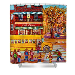 The Big Yellow School Bus Street Scene Paintings Of Montreal Shower Curtain by Carole Spandau
