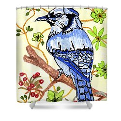 Shower Curtain featuring the painting The Bird In My Yard by Connie Valasco