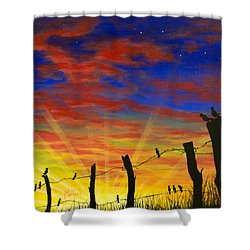 The Birds - Red Sky At Night Shower Curtain