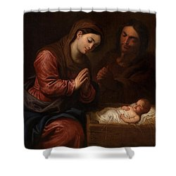 The Birth Of Christ Shower Curtain by Frans II the Younger Francken