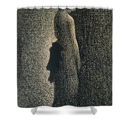 The Black Bow Shower Curtain by Georges Pierre Seurat