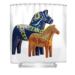 The Blue And Red Dala Horse Shower Curtain by Torbjorn Swenelius