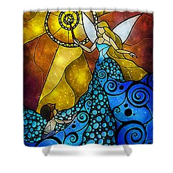 The Blue Fairy Shower Curtain by Mandie Manzano