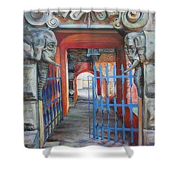 Shower Curtain featuring the painting The Blue Gate by Marina Gnetetsky