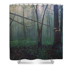 The Blue-green Forest Shower Curtain by Derek Van Derven