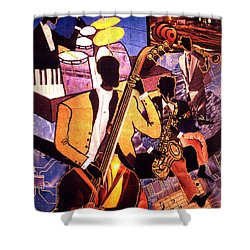 The Blues People Shower Curtain by Everett Spruill