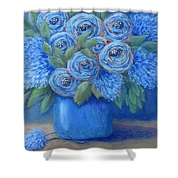 The Blues Shower Curtain by Suzanne Theis