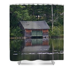 Shower Curtain featuring the photograph The Boat House On Mt Chocorua Lake by Denyse Duhaime