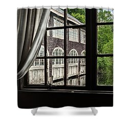 The Boathouse On Paradise Pond Shower Curtain by Marianne Campolongo