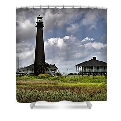 The Bolivar Lighthouse Shower Curtain by Linda Unger