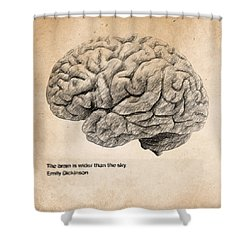 The Brain Is Wider Than The Sky Shower Curtain by Taylan Apukovska