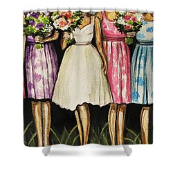 The Bride And Her Bridesmaids Shower Curtain