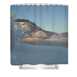 The Bridge At Big Delta 2 Shower Curtain by Cathy Mahnke