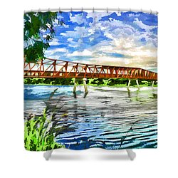 Shower Curtain featuring the photograph The Bridge by Yew Kwang