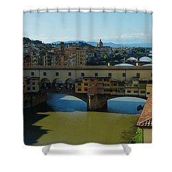 The Bridges Of Florence Italy Shower Curtain by Georgia Mizuleva