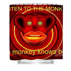 The Broadcast Monkey Shower Curtain by Catherine Lott