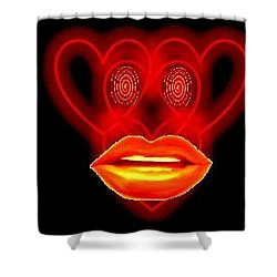 The Broadcast Monkey Hearts Shower Curtain by Catherine Lott