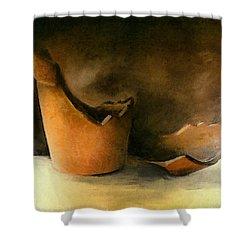 The Broken Terracotta Pot Shower Curtain by Michelle Calkins