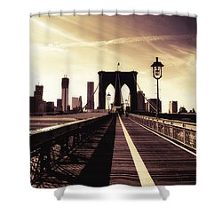 The Brooklyn Bridge - New York City Shower Curtain by Vivienne Gucwa