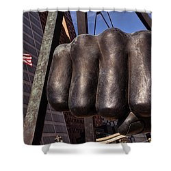 The Brown Bomber Shower Curtain by Gordon Dean II