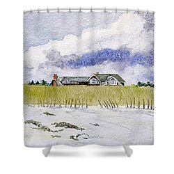 The Brown House On East Beach Shower Curtain