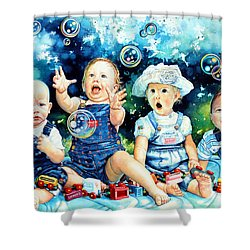 The Bubble Gang Shower Curtain by Hanne Lore Koehler