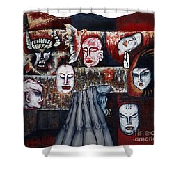 Shower Curtain featuring the painting The Buddhism Conception And The Human World by Fei A