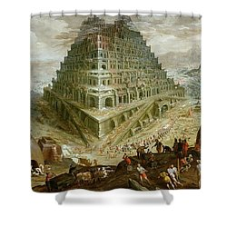 The Building Of The Tower Of Babel Shower Curtain by Marten van Valckenborch