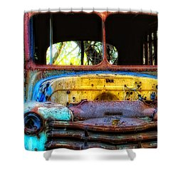 Shower Curtain featuring the photograph The Bus Stops Here by Erika Weber