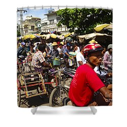 Shower Curtain featuring the photograph The Bustling Traffic On 27th Street Zay Cho Street Market Mandalay Burma by Ralph A  Ledergerber-Photography