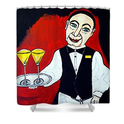 Shower Curtain featuring the painting The Butler  by Nora Shepley