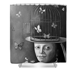 The Butterfly Keeper Bw Shower Curtain by Leah Saulnier The Painting Maniac