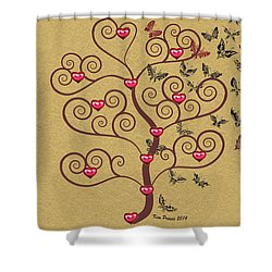 the Butterly heart Tree Shower Curtain