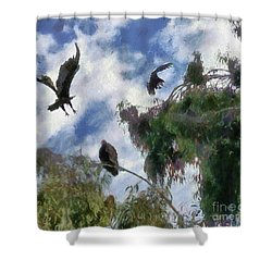 Shower Curtain featuring the digital art The Buzzard Tree by Rhonda Strickland