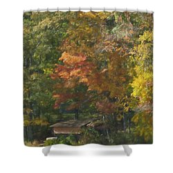 The Cabin At Cherry Brook Shower Curtain by Jean-Pierre Ducondi