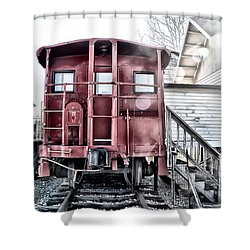 The Caboose Shower Curtain by Bill Cannon