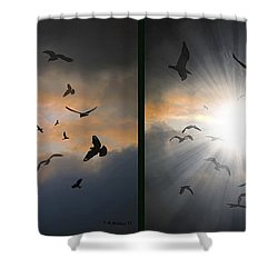 The Call - The Caw - Gently Cross Your Eyes And Focus On The Middle Image Shower Curtain by Brian Wallace