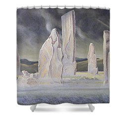 The Callanish Legend Isle Of Lewis Shower Curtain by Evangeline Dickson