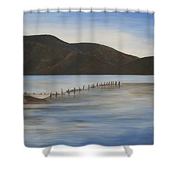 Shower Curtain featuring the painting The Calm Water Of Akyaka by Tracey Harrington-Simpson