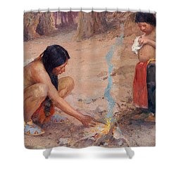The Campfire Shower Curtain by EI Couse