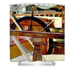 The Captain's Wheel Shower Curtain by Karen Wiles