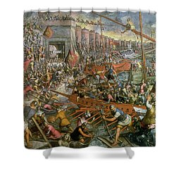The Capture Of Constantinople In 1204 Shower Curtain by Jacopo Robusti Tintoretto