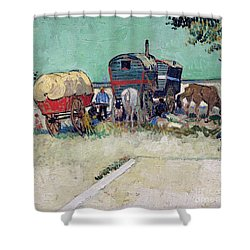 The Caravans   Gypsy Encampment Near Arles Shower Curtain by Vincent Van Gogh