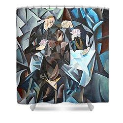 The Card Players Shower Curtain by Tracey Harrington-Simpson