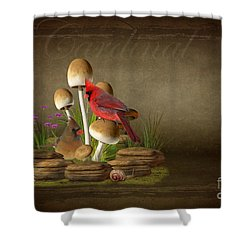 The Cardinal Shower Curtain by Davandra Cribbie